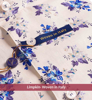 WONOSARI- BEIGE & BLUE FLORAL PRINT IN COTTON/LINEN