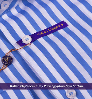 Cobalt Blue & White Magical Stripe- 2 Ply Pure Egyptian Giza Cotton