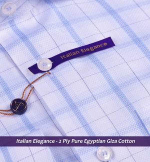 Newburgh- Oxford Blue & White Magical Check- 2 Ply Pure Egyptian Giza Cotton
