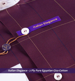 Burgundy & Beige Check with White Collar