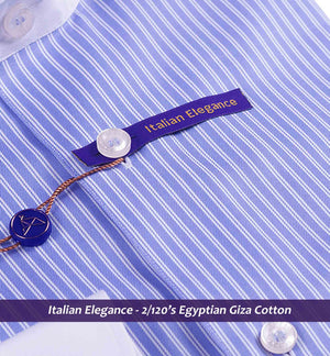 Corvetto- Blue Stripe With White Collar- 2/120 Egyptian Giza Cotton