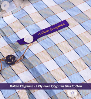 Oxford Blue & Beige Magical Check- 2 Ply Pure Egyptian Giza Cotton