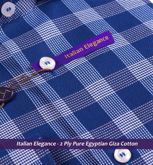 Navy Blue & White Magical Check- 2 Ply Pure Egyptian Giza Cotton