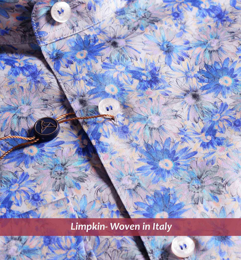 SANTORINI- MAGICAL FLORAL BLUE PRINT- WITH POCKET