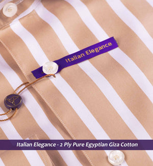 British Tan & White Magical Stripe- 2 Ply Pure Egyptian Giza Cotton
