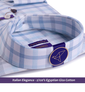 MADRID- TURQUOISE & WHITE CHECK- 2/120 EGYPTIAN GIZA COTTON