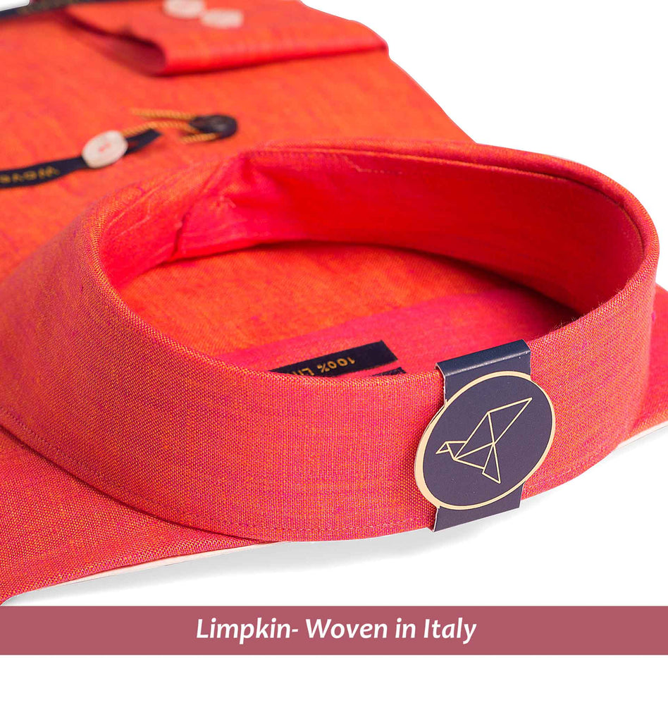 OLYMPIA- CORAL RED PURE LINEN IN 60's LEA