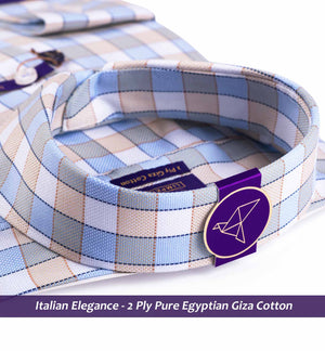 Men's shirt in Oxford Blue & Beige Magical Check - Shirts for men