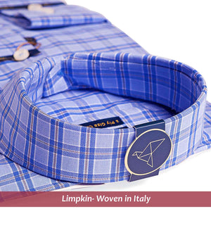 Men's shirt in magical blue & beige check pattern - Shirts for men