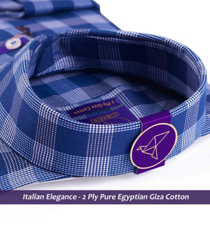 Moncton- Navy Blue & White Magical Check- 2 Ply Pure Egyptian Giza Cotton