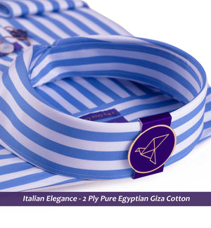 Men's shirt in Cobalt Blue & White Magical Stripe - Shirts for men