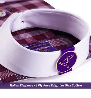 Men's shirt in Burgundy Structure Magical Check with White Collar - Shirts for men