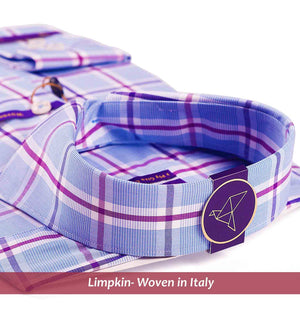 Men's shirt in magical blue & lilac check pattern - Shirts for men