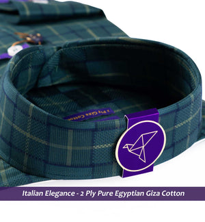 Surrey- Seaweed Green & Navy Magical Check- 2 Ply Pure Egyptian Giza Cotton