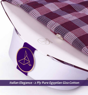 Men's shirt in Burgundy Structure Magical Check with White Collar - Limpkin Shirts
