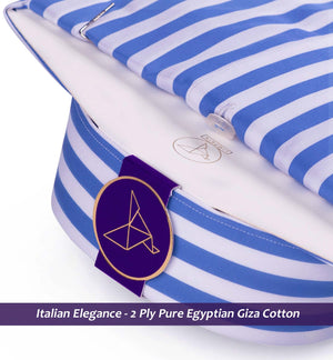 Men's shirt in Cobalt Blue & White Magical Stripe - Limpkin Shirts