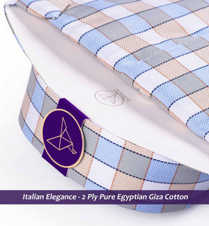 Lucerne- Oxford Blue & Beige Magical Check- 2 Ply Pure Egyptian Giza Cotton