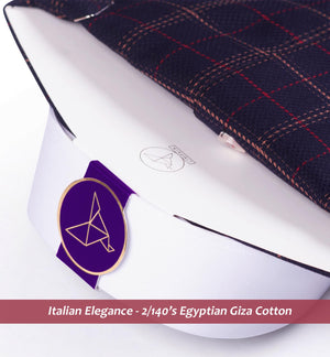 Stanford- Dark Navy & Burgundy Check- 2/140 Egyptian Giza Cotton