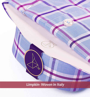 Men's shirt in magical blue & lilac check pattern - Limpkin Shirts