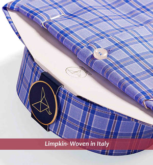 Men's shirt in magical blue & beige check pattern - Limpkin Shirts
