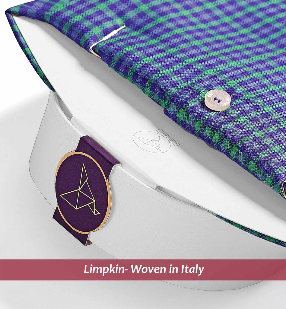 COVENTORY- PURPLE & GREEN MICRO CHECK & WHITE COLLAR
