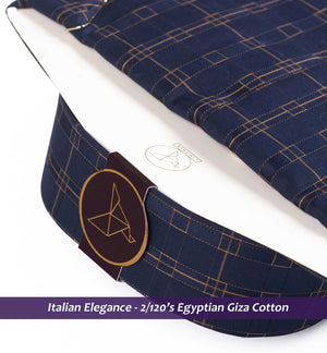 Palestro- Navy & Beige Magical Check- 2/120 Egyptian Giza Cotton