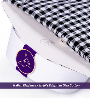 Men's shirt in Black & White Magical Gingham Check with White Collar & White Cuff - Limpkin Shirts