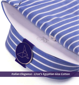 Leonardo- Azure Blue & White Magical Stripe