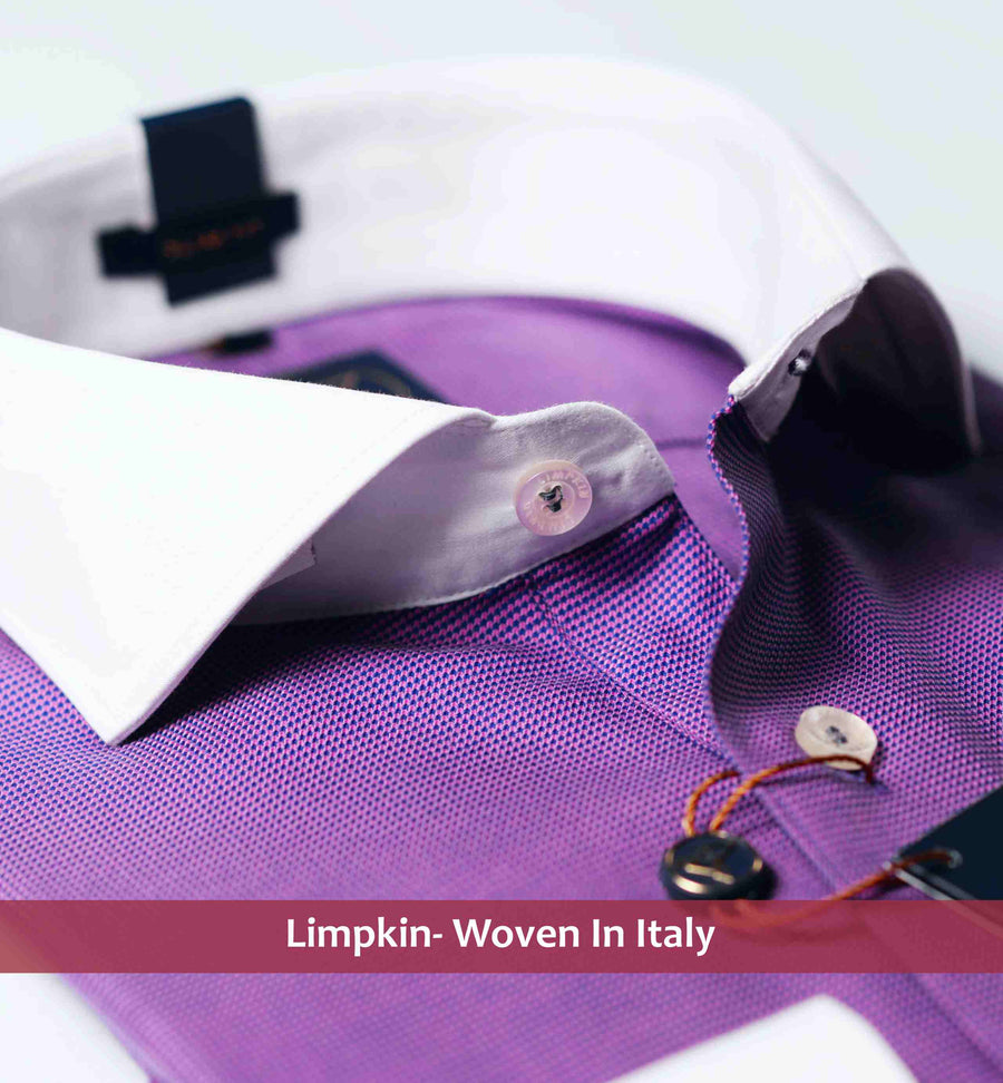 Slim fit shirt in lilac micro hounds tooth pattern