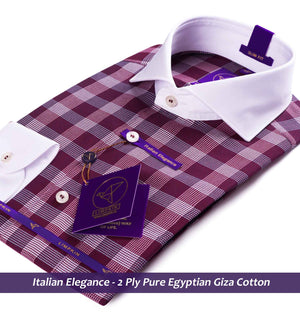 Check Shirt - Burgundy | White Collar | Shirts for Men - Limpkin