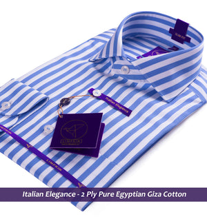 Striped Shirt - Blue | Formal Shirts for Men - Limpkin