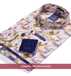 Printed Shirts - Beige & Green, Mandarin Collar | Mens Shirt - Limpkin