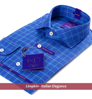 WARWICK- PERSIAN BLUE CHECK IN COTTON & LINEN- Delivery from 12th Oct