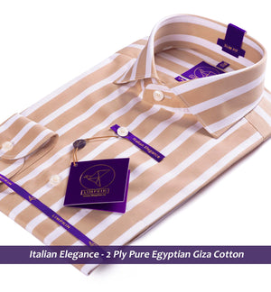 Striped Shirt - Tan & White | Shirts for Men - Limpkin