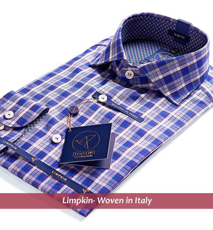 Check Shirt - Navy Blue | Mens Shirts - Limpkin
