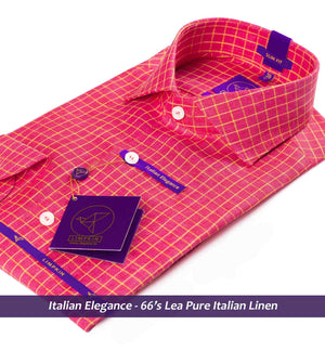 Linen Shirts - Red & Yellow Check | Shirts for Men - Limpkin