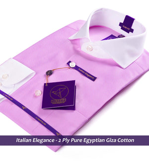 Rochester- Pink Structure with White Collar- 2 Ply Pure Egyptian Giza Cotton