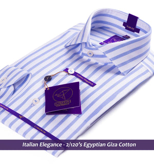 Striped shirt - Blue & White | Formal Shirts for Men - Limpkin