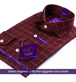Check Shirt - Burgundy & Beige | Shirts for Men - Limpkin
