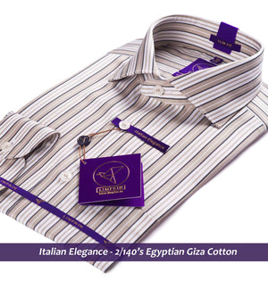 Striped shirt - White & Beige | Formal Shirts for Men - Limpkin