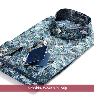 Printed Shirts - Teal & Mandarin Collar | Shirts for Men - Limpkin