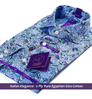 Printed Shirts - Navy & Lilac Floral | Shirts for Men - Limpkin