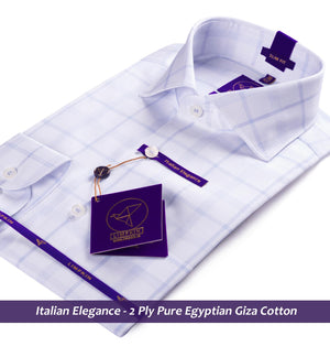 Check Shirt - White & Blue | Shirts for Men - Limpkin