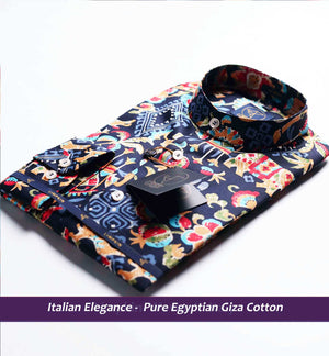 Printed Shirts - Navy Blue | Mens Shirts - Limpkin
