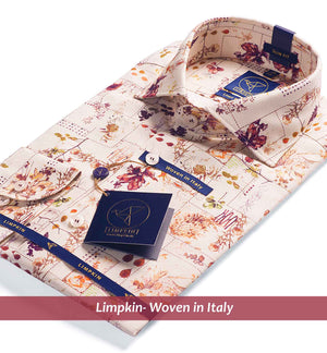 Printed Shirts - Beige & Burgundy | Mens Shirts - Limpkin