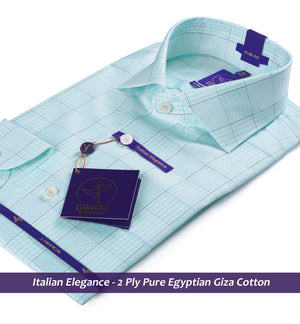 Check Shirt- Turquoise Green | Shirts for Men - Limpkin