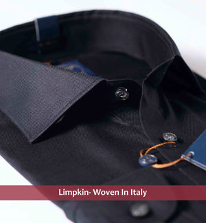 "BOLOGNA- PURE BLACK- ""SOFT TOUCH""- 60s GIZA COTTON TWILL- Delivery from 10th Sep"