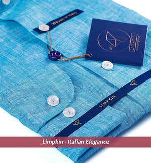Blue Pure Linen Shirts For Men - Limpkin