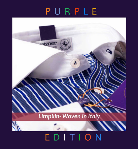 BULGARIA- NAVY & ROYAL BLUE STRIPE WITH WHITE COLLAR- PURPLE EDITION