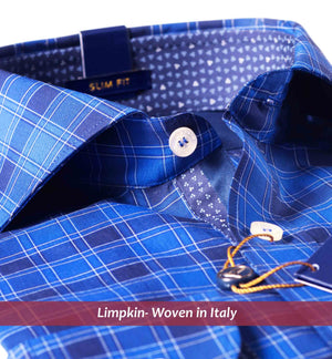 Royal Blue Check Shirt- Buy Online Premium Shirts- Woven In Italy